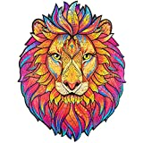 Unidragon Wooden Puzzle Jigsaw, Best Gift for Adults and Kids, Unique Shape Jigsaw Pieces Mysterious Lion, 7.5 x 9.5 inches, 106 pieces, Small