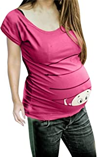 striped maternity shirt with baby peeking out
