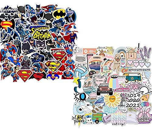 95Piezas Impermeable Paquete de Pegatinas Graffiti Stickers Vsco Ordenador Portatil Tumblr Aesthetic Anime La Pegatina Vinilo Batman Superman Pegatinas para Niñas Niño Bicicleta Skate Maleta