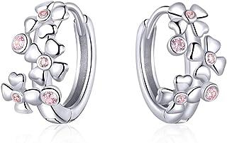 Pendientes de aro para mujeres Pendiente de cartílago Huggie Rosa cereza Aro pequeño Pendientes Joyas para Niñas