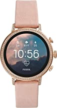 Fossil Women's Gen 4 Venture HR Heart Rate Stainless Steel and Leather Touchscreen Smartwatch, Color: Rose Gold, Pink (Model: FTW6015)
