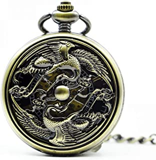 YXZQ Pocket Watch, Antique Skeleton Mechanical Men Steampunk Mechanical Watches Clock Pendant Hand winding Men Watch