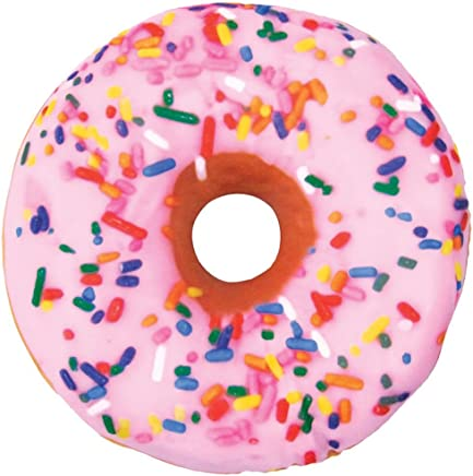 iscream Sugar-riffic Donut Shaped Bi-Color 16 Photoreal Print Microbead Pillow,  Pink Front/Chocolate Back,  16Wx16H