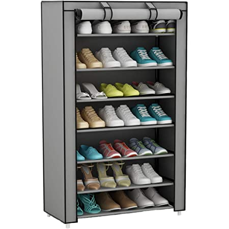 UDEAR Meuble à Chaussures Pliant avec Tissu, 8 Couches Armoire à Chaussures étagère à Chaussures Gris
