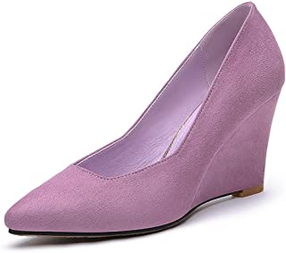 Pointed High Heel Stiletto Women's Shoes New Korean Version of The Female Shallow Mouth Single Shoes Banquet Shoes Purple Black (Color : Purple, Size : 34)