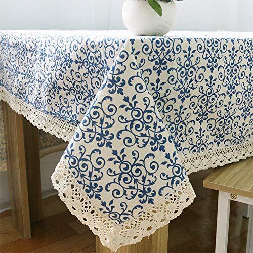AKDSteel Mantel retro de porcelana azul y blanco con encaje de algodón y lino para decoración del hogar, porcelana azul y blanca, 90 x 90, suministros para el hogar para la familia