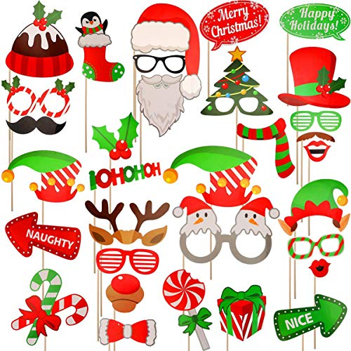 Seasons Stars SSDecor Christmas Photo Booth Props 32Pcs(Upgraded Version), Merry Christmas Party Pose Sign, Red and Green Christmas Party Supplies Decorations for Kids Adults