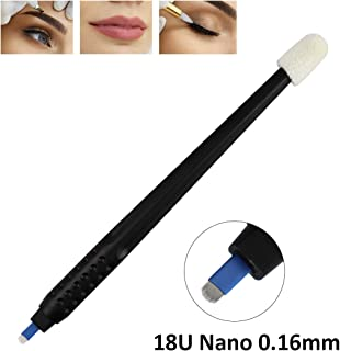 10pcs Disposable Microblading Manual Pen 18U Nano 0.16mm Blades with Cap for Permanent Makeup Eyebrows and lips,disposable blister package (10pcs)