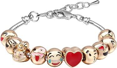 MANBARA Bracelets for Teen Girls Beaded Bracelet Cute Emoji Charm Bracelet for Kids Adjustable Length Heart Enamel Faces Christmas Birthday Jewelry Gifts