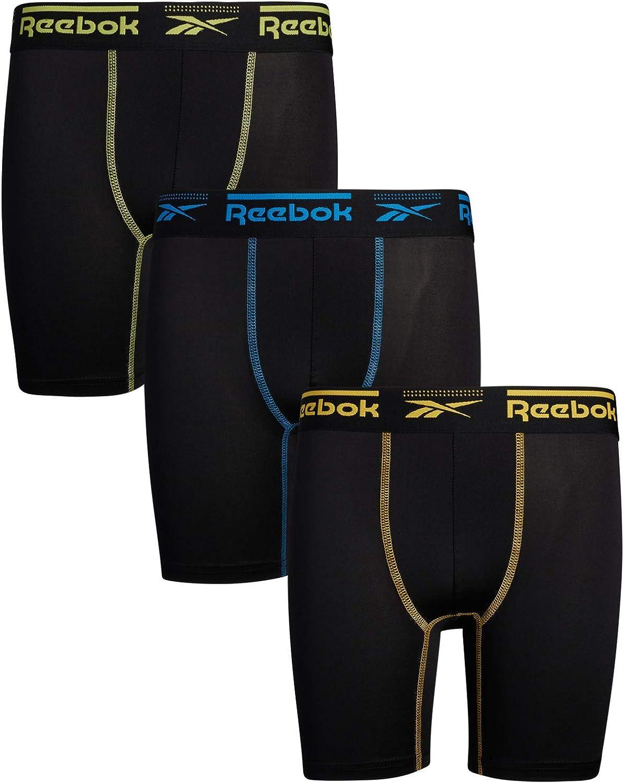 Reebok Boys Performance Quick Dry Long Leg Boxer Brief (Pack of 3)