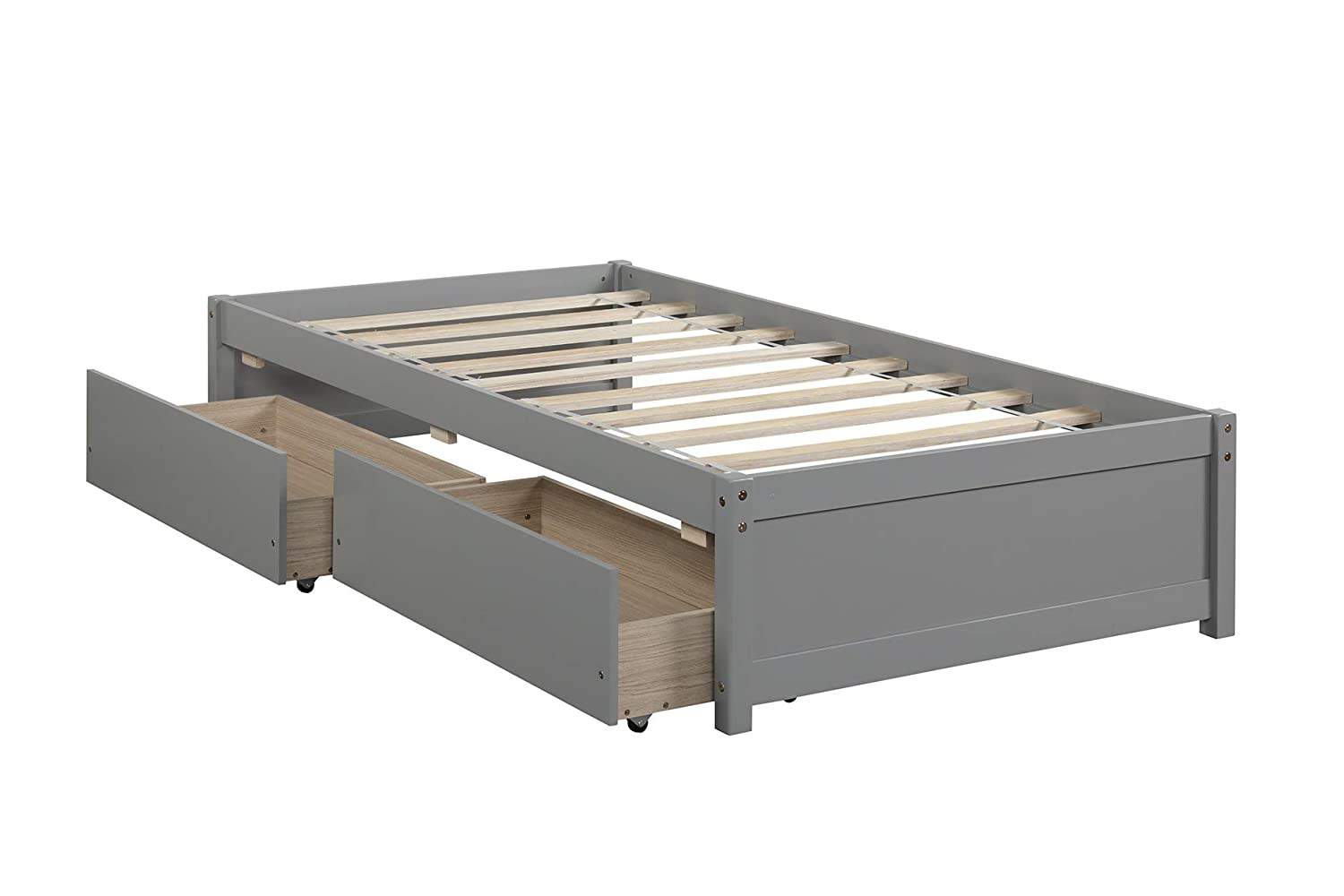 Wooden Finally popular brand Albuquerque Mall Frame Bed Bedroom Twin-B Furniture Grey