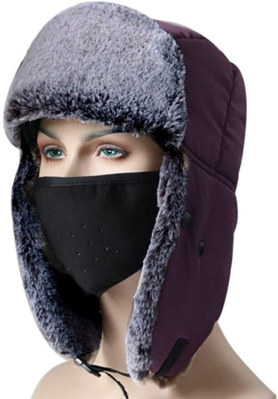 Faux Leather Aviator Pilot Cap Adult Men Winter Trapper Hunting Faux Fur Hat Waterproof & Windproof