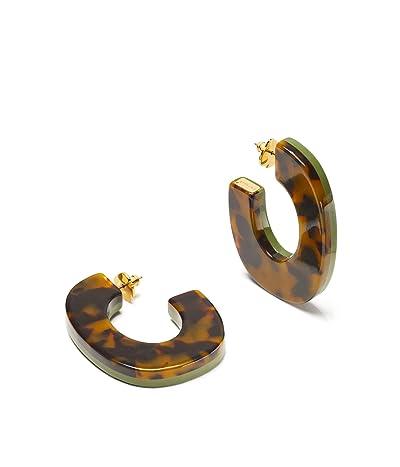 Kate Spade New York Urban Jungle Resin Hoops Earrings (Green) Earring