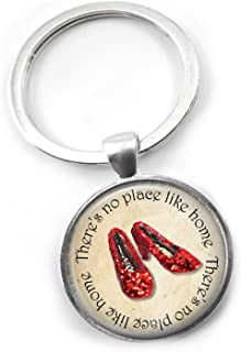 Little Gem Girl Wizard of Oz There's No Place Like Home Ruby Red Slippers Silver Round Key Chain Charm