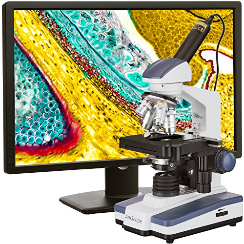 AmScope 40X-2500X LED Digital Monocular Compound Microscope w 3D Stage +1.3MP USB Imager