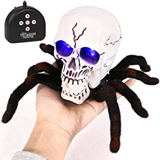 Electronic Spider Toy,Hamkaw Remote Control Realistic Tarantula Spider with Universal Wheel Glowing Eye,Halloween Skull Spider Prank Toys for Kids Adults
