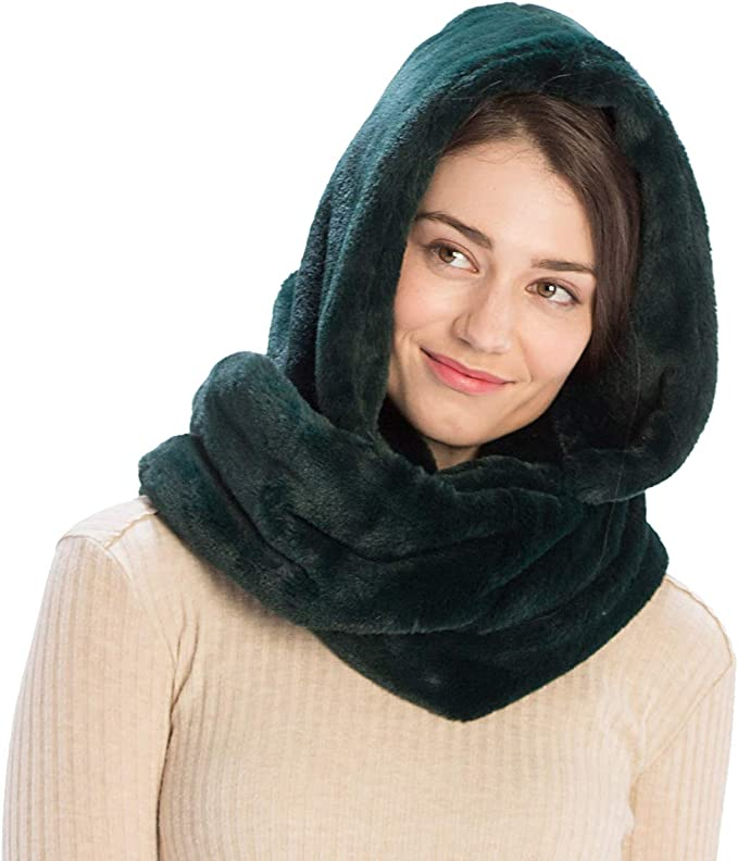 Beige-Black Hooded Scarf Womens Festival Hood Oversized Winter Scarf Double Sided Scarf Reversible Scarf Infinity Scarf Chunky Scarf
