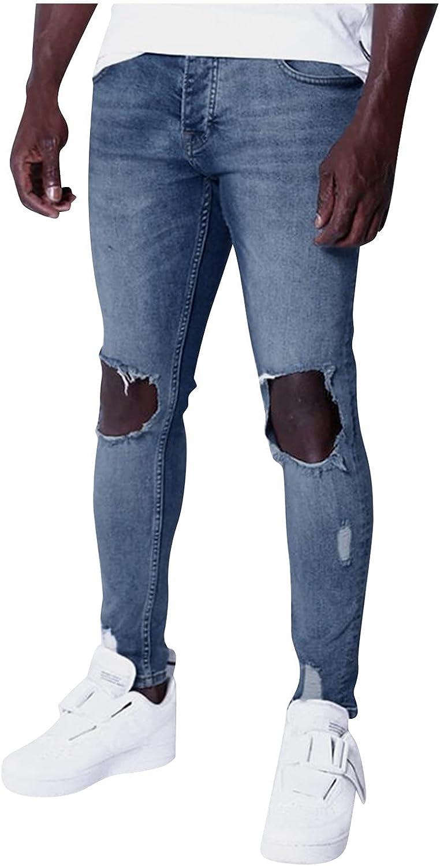 Beshion Men's Ripped Jeans,Distressed Denim Hole Sports Full Length Pants Bodybuilding Pocket Straight Leg Denim Pants