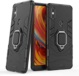 Compatible with Mi Mix 2S Case, Metal Ring Grip Kickstand Shockproof Hard Bumper Shell (Works with Magnetic Car Mount) Dual Layer Rugged Cover for Xiaomi Mi Mix 2S (Black)