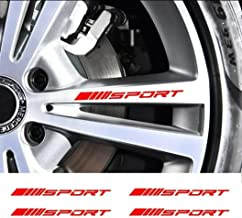 ViStream 4Pc Wheels Rims Sport Racing Decal Stripes Stickers Emblem Bumper Race Car SUV Truck (قرمز)