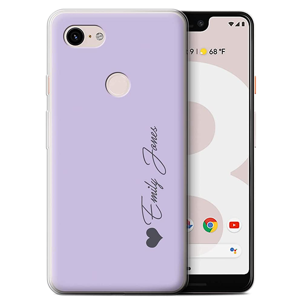 Personalized Custom Pastel Tones Gel/TPU Case Google Pixel 3 XL/Purple Heart Design/Initial/Name/Text DIY Cover
