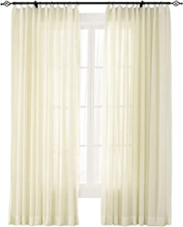 ChadMade Indoor Outdoor Solid Sheer Curtain Pinch Pleat Ivory 120