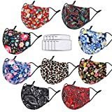 Cloth Face Maks Washable Reusable for Women Men Build-in Nose Wire&Filter Pocket with 9 Filters Adjustable Breathable 3 Layers Cotton Cup Dust Safety Protection Fabric with Designer Printed(9 Pcs)
