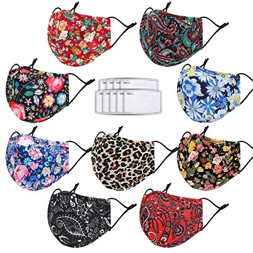 Cloth Face Maks Washable Reusable for Women Men with Nose Wire&Filter Pocket&9 Filters,3 Layers Fabric with Designer Printed