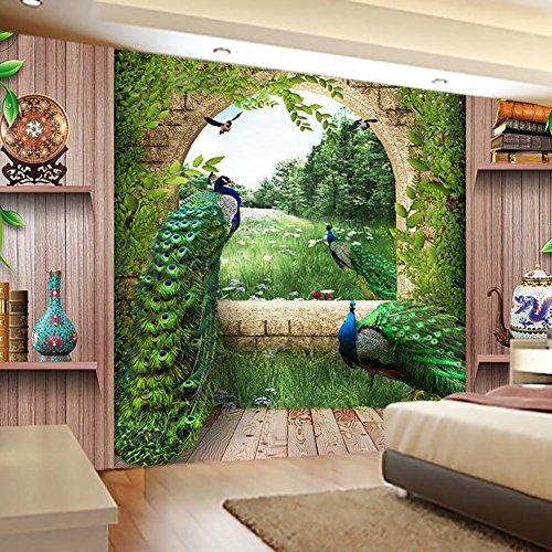 Décoration murale à suspendre ou jeté de lit de style indien, hippie, Bohème, avec mandala plume de 3D paon , 002 , 150*180cm