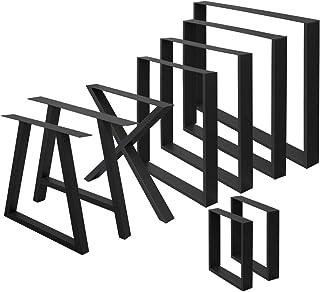 ECD Germany Set 2 Pieds de Table - 60 x 72 cm - Forme A-Design - Noir - en Acier Thermolaqué - Pied de Meuble Banc - Desig...