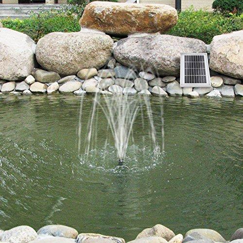 SOLAR TEICHPUMPE Garten BRUNNEN Oasis 250-1 Solarbrunnen Springbrunnen WASSERSPIEL Teichpumpe 2,5 Watt, max. 250L/h max. 0,9m-Fontaenenhoehe Fuer Gartenteich mit STABILEM ALU-Rahmen