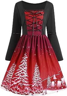Women Plus Size Christmas A-Line Dresses Casual Printed Flare Long Sleeve Cross Bandage Swing Dress