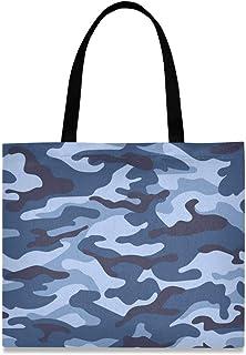 DOSHINE Tragetasche aus Segeltuch, Blau Camouflage, wiederverwendbar, Einkaufstasche, Schulranzen, Handtasche für Damen, Mädchen