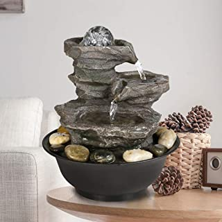 "PeterIvan 4-Tier Cascading Resin-Rock Falls Tabletop Water Fountain - 11 2/5"" Small Relaxation Waterfall Feature with LED Lights&Ball, Indoor Oudoor Decorative Tabletop Fountain for Stress Relief"