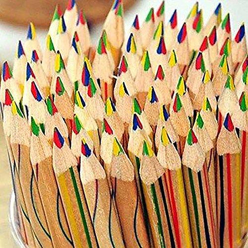 dljztrade Regenboogkleurpotloden, 10 stuks, duurzaam, 4 in 1 gekleurde tekening, schilderpannen accessoireset multi