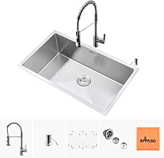 APPASO Kitchen Sink & Faucet Combo Set, 30 Inches Stainless Steel Single Bowl Kitchen Sink Undermount and Commercial Pull Down Kitchen Faucet Kit