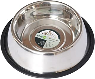 Iconic Pet Stainless Steel Non Skid Pet Food / Water Bowl with Rubber Ring in Varying Sizes - Rust Free, Dog / Cat Feeding Bowl is Dishwasher Safe, Noise Free, Anti Skid and Stable Kitten / Puppy Dish