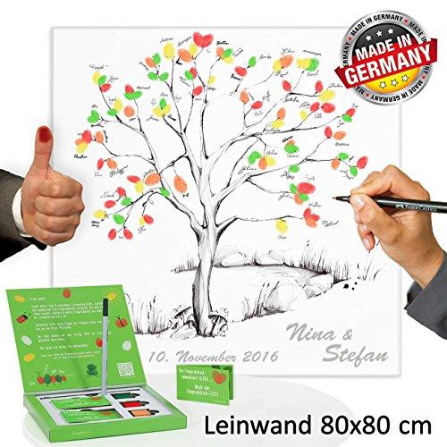 galleryy.net Wedding Tree Leinwand 80x80 mit Namen & Datum - INKL Zubehör-Set GRATIS (Stempelkissen+Stift+Anleitung+Hochzeitsbuch+...) - Wedding Tree Zeichenstil grau - Wedding Tree Leinwand