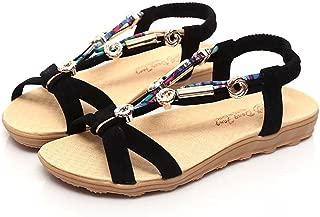 Aniywn Ladies Bohemian Sandals, Women Summer Sandals Shoes Peep-Toe Low Shoes Roman Sandals Ladies Flip Flops