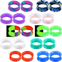 OUFER 20PCS Soft Silicone Ear Gauges Flesh Tunnels Plugs Stretchers Expander Double Flared Flesh Tunnels Ear Piercing Jewelry