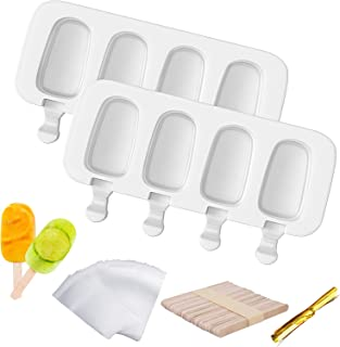 Acerich Popsicle Molds, 2 Pack Silicone Cake Pop Mold for Kids 4 Cavities Ice Pop Molds Oval with 60 Wooden Sticks & 60 Pa...