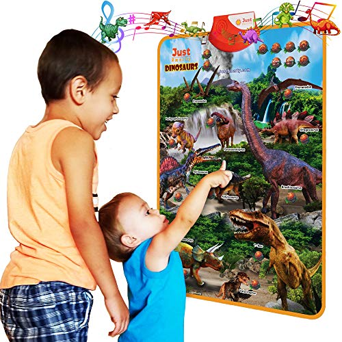 Just Smarty Dinosaur Interactive Learning Poster and Dinosaur Toys for Kids 3-5 with Music, Games and Educational Activities for Toddlers, Boys and Girls Age 3,4,5 Includes 4 Realistic Toy Figurines