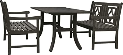 Vifah V1300SET19 Renaissance Outdoor 3-Piece Wood Patio Curvy Legs Table Dining Set, Hand-Scraped Hardwood