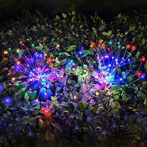 4× Solarlampe für Außen Garten, LUOWAN Solar Feuerwerk Licht Mehrfarbig LED Solarleuchten Wasserdicht Gartenleuchten für Außen, Garten ,Balkon,Balkonkasten,Blumenkästen und Terrasse Dekoration