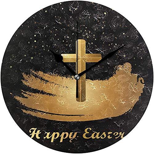 L.Fenn Christ Blood Cross Wanduhr Silent Non Ticking Bunny Eggs Uhren Batteriebetriebene Vintage Schreibtischuhr