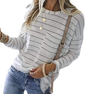 S-Fly Womens Stripe Pockets Long Sleeve Round Neck Casual T-shirt