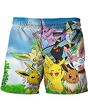 WOEMANE Pikachu Pokémon strandbroek, zomer, Hawaï-shorts, sneldrogend, voor tieners, jongens en volwassenen