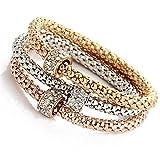 Womeet Charm Women Bracelet Gold Plata Oro Rosa Rhinestone Bangle Jewelry Set Moda Regalo Accesorios para San Valentín Cumpleaños Bangle Wedding Bridal Jewelry