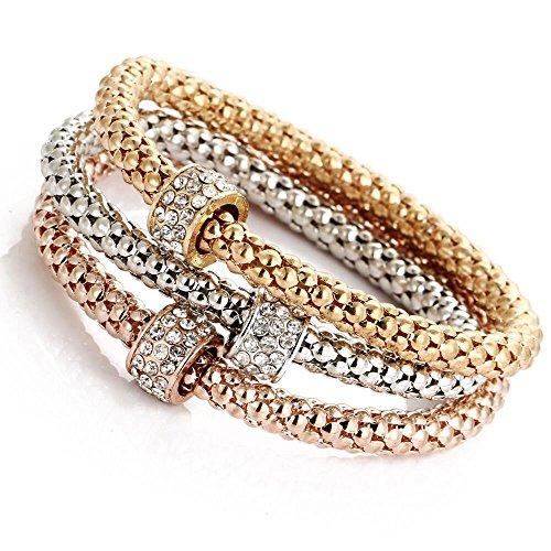 ODJOY-FAN Charme Frau Armband Popcorn Mais Kette Gold Silber Rose Strass Armreif Charm-Armbänder Schmuck (C,3 PCS)