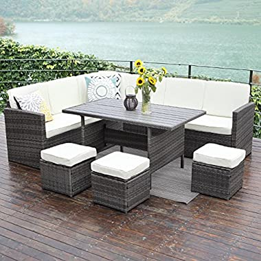 Wisteria Lane 10PCS Patio Sectional Furniture Set, Outdoor Conversation Set All-Weather Wicker Sofa Set,Grey